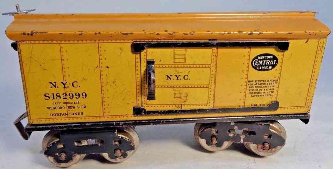 dorfan 601 spielzeug eisenbahn gedeckter gueterwagen gelb new york central lines  spur 0