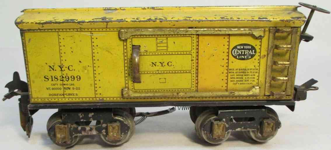 dorfan 601 railway toy box car yellow brass journals gauge 0