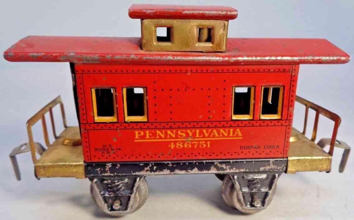 dorfan 606 railway toy caboose red pennsylvania gauge 0