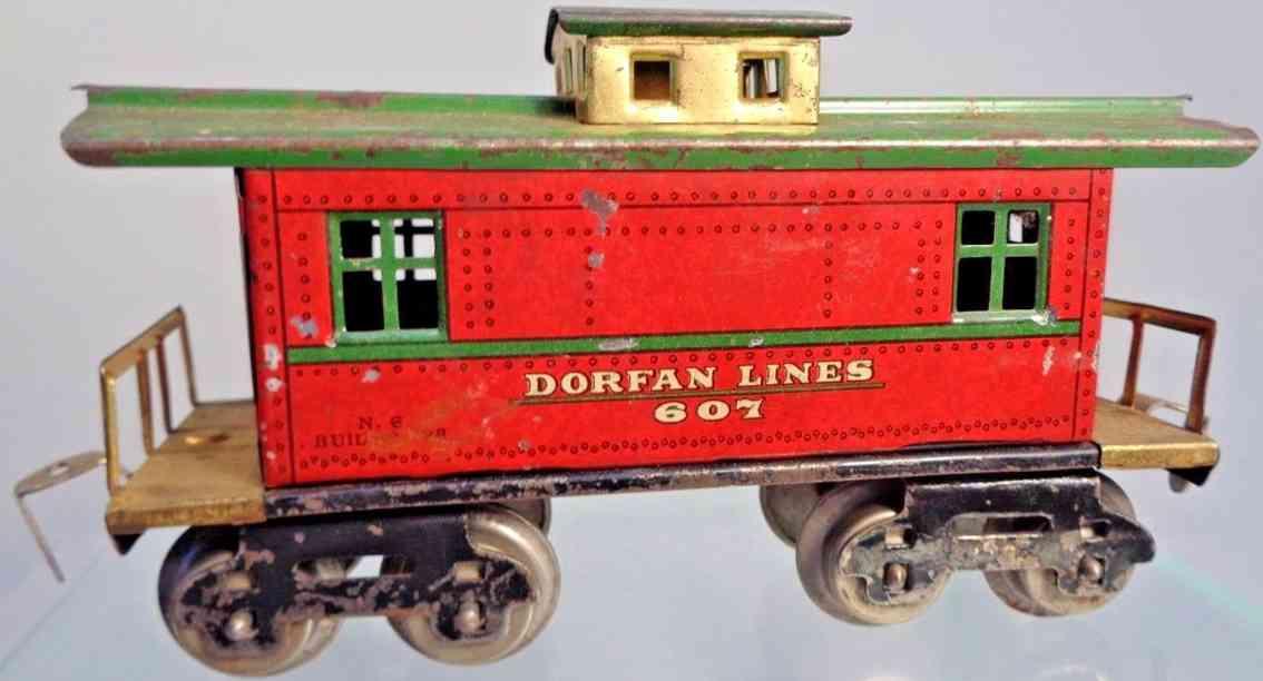 dorfan 607 railway toy caboose red brass gauge 0