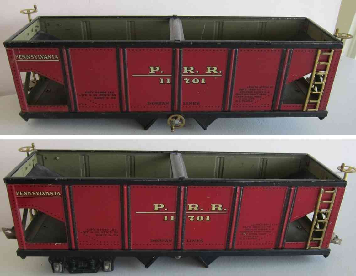 dorfan 805 railway toy hopper in red pennsylvania p55 1170 wide gauge