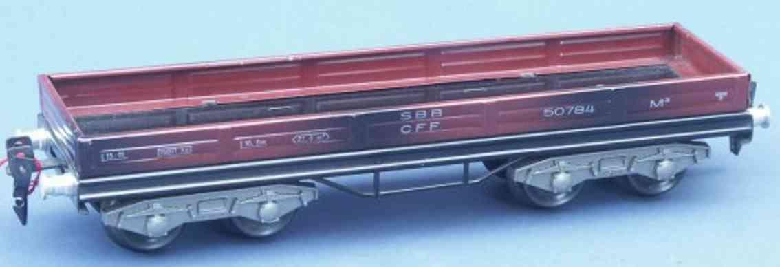 hag 105 A / 830 spielzeug eisenbahn niederbordwagen; 4-achsig; in braun der sbb cff, gedruckte b