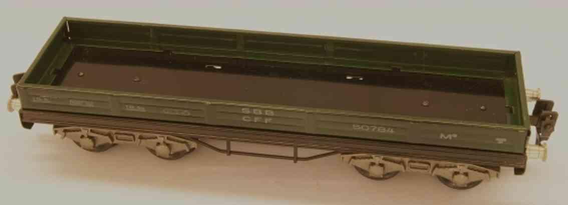 hag 105A/830 spielzeug eisenbahn niederbordwagen m3; 4-achsig; in grün und schwarz, gedruckte
