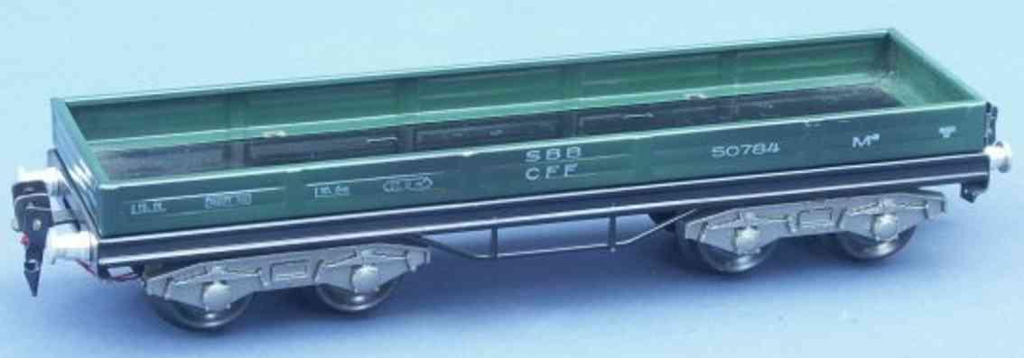 hag 105 A / 830 spielzeug eisenbahn niederbordwagen; 4-achsig; in grün der sbb cff, gedruckte be