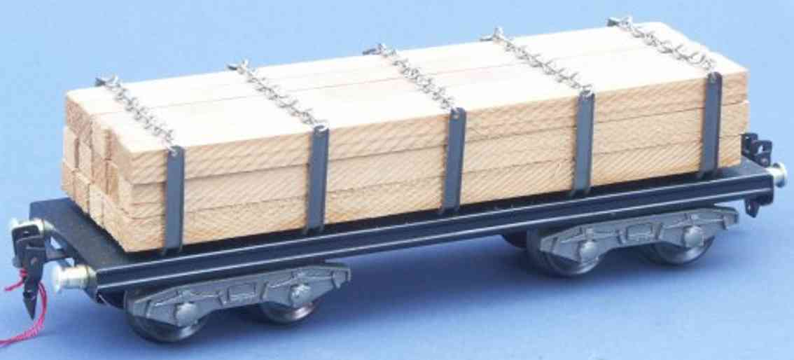 hag 110 H / 840 spielzeug eisenbahn rungenwagen; 4-achsig; mit kanthölzern, 5 rungenpaare mit gl