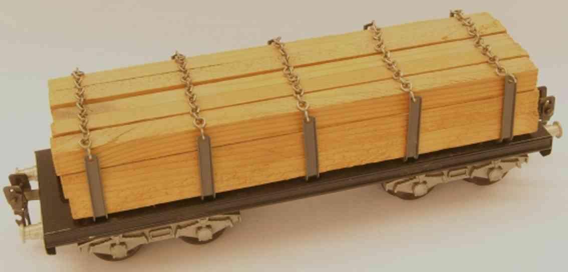 hag 110H/841 (1952) spielzeug eisenbahn rungenwagen mit 10 rungen mit ketten; 4-achsig; beladen mit