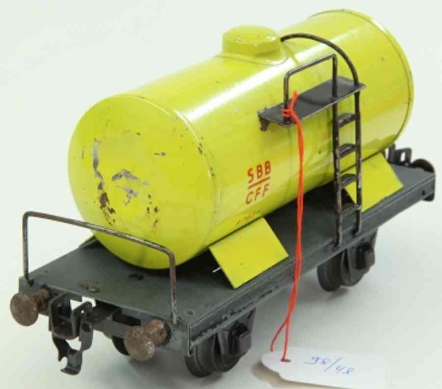 hag spielzeug eisenbahn kesselwagen mit bühne; 2-achsig; in gelb und schwarz, kupplu