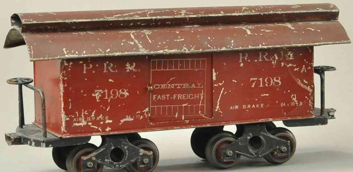 howard electric novelty company 21 gedeckter gueterwagen gepaeckwagen rot braun spur 2 inches