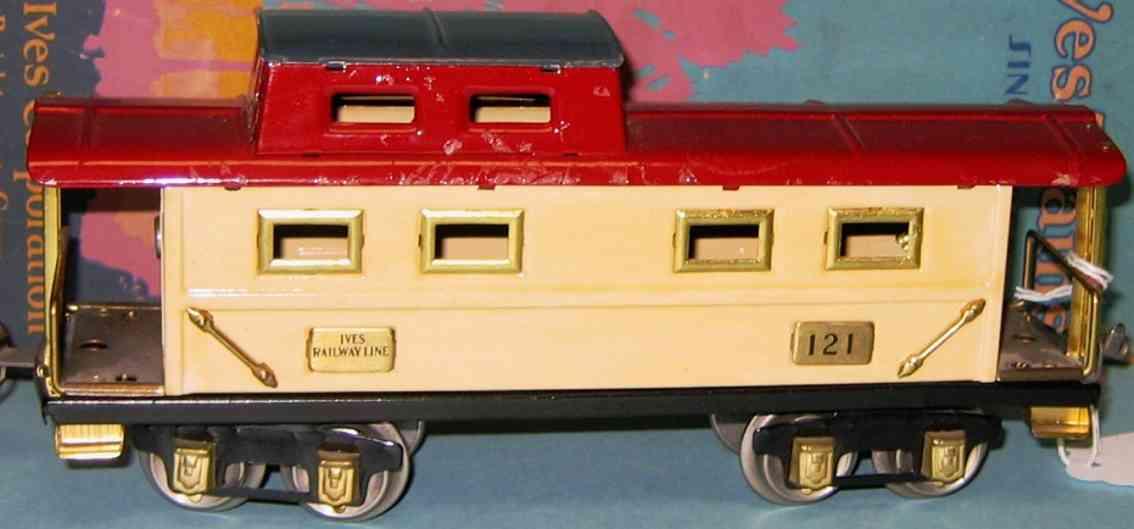 ives 121 (1928) spielzeug eisenbahn caboose; 4-achisg; lithografiert in rot und weiß mit tief bl