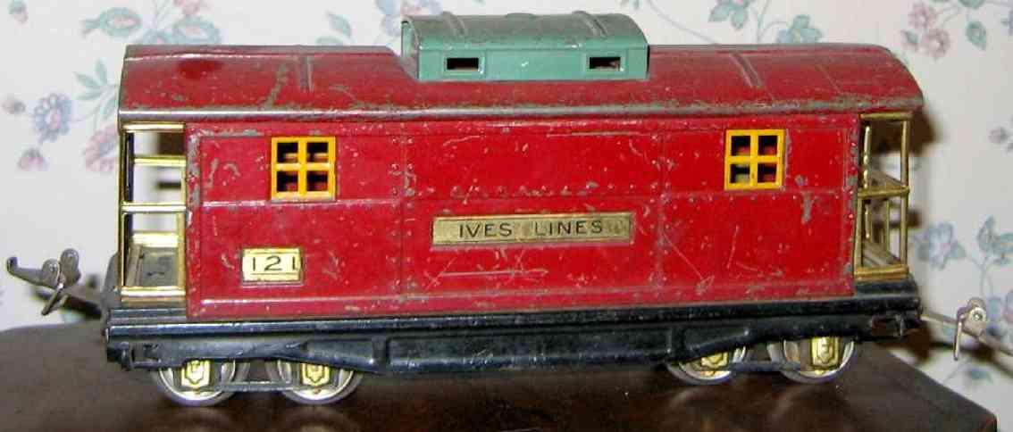 ives 121 (1930) spielzeug eisenbahn caboose; 4-achisg; lionel gehäuse lithografiert in rot mit p