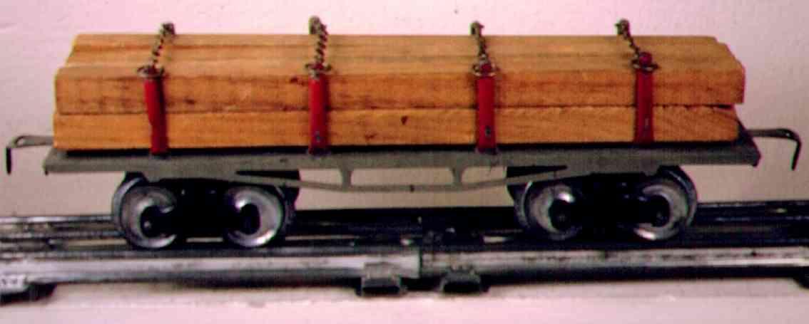 ives 123 (1910) spielzeug eisenbahn bretterwagen; 4-achisg; lithografiert, grau nicht geprägter