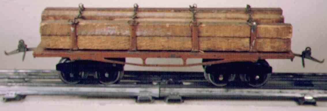 ives 123 (1918) spielzeug eisenbahn bretterwagen; 4-achisg; lithografiert in braun, geprägter ra