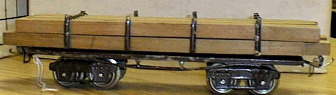 ives 123 (1919) spielzeug eisenbahn bretterwagen; 4-achisg; lithografiert, braun geprägter rahme