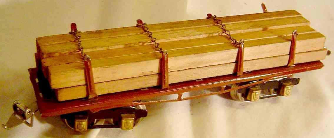 ives 123 (1925) spielzeug eisenbahn bretterwagen; 4-achisg; lithografiert in braun, geprägter ra