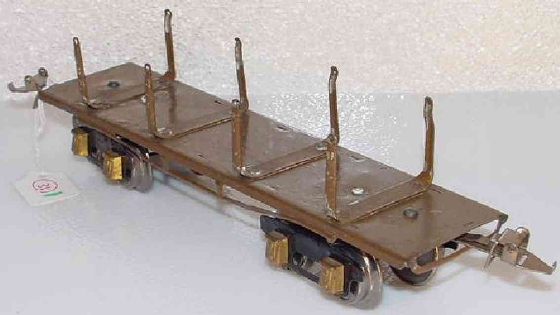 ives 123 (1928) spielzeug eisenbahn bretterwagen; 4-achisg; lithografiert in braun, geprägter ra