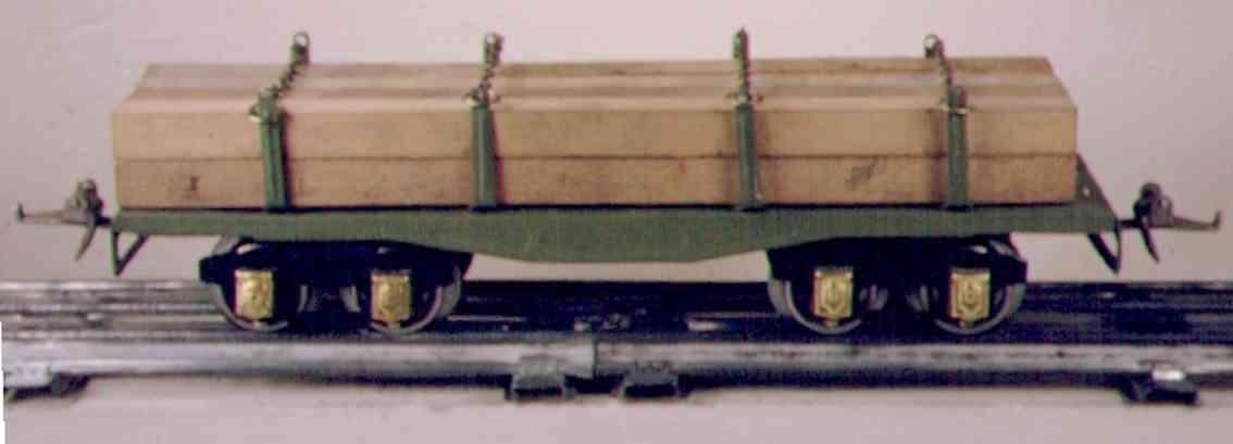 ives 123 1930 spielzeug eisenbahn bretterwagen gruen holzladung spur 0