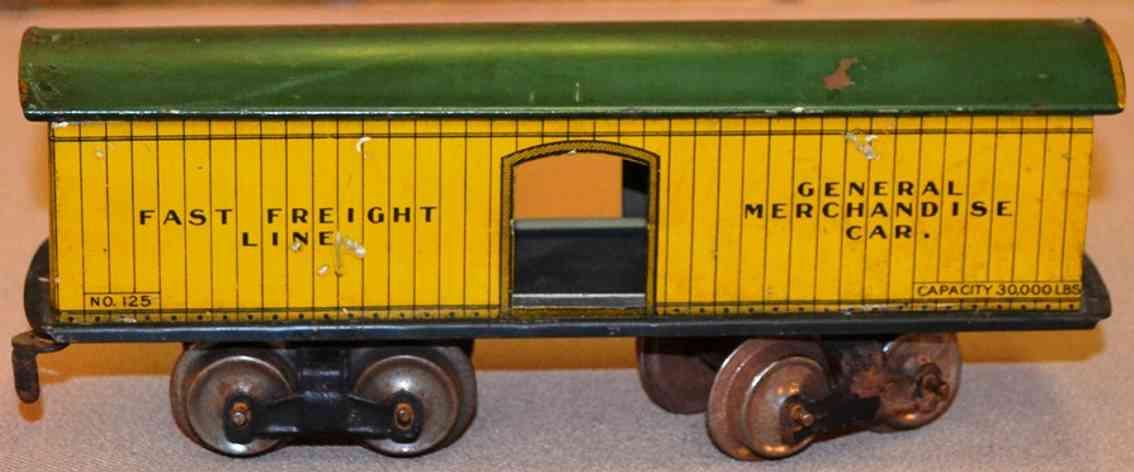 ives 125 1910 spielzeug gedeckter gueterwagen fast freight line spur 0