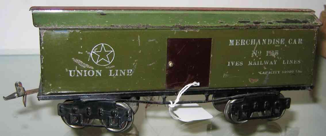 ives 125 1913 spielzeug eisenbahn kuehlwagen gruen union line spur 0