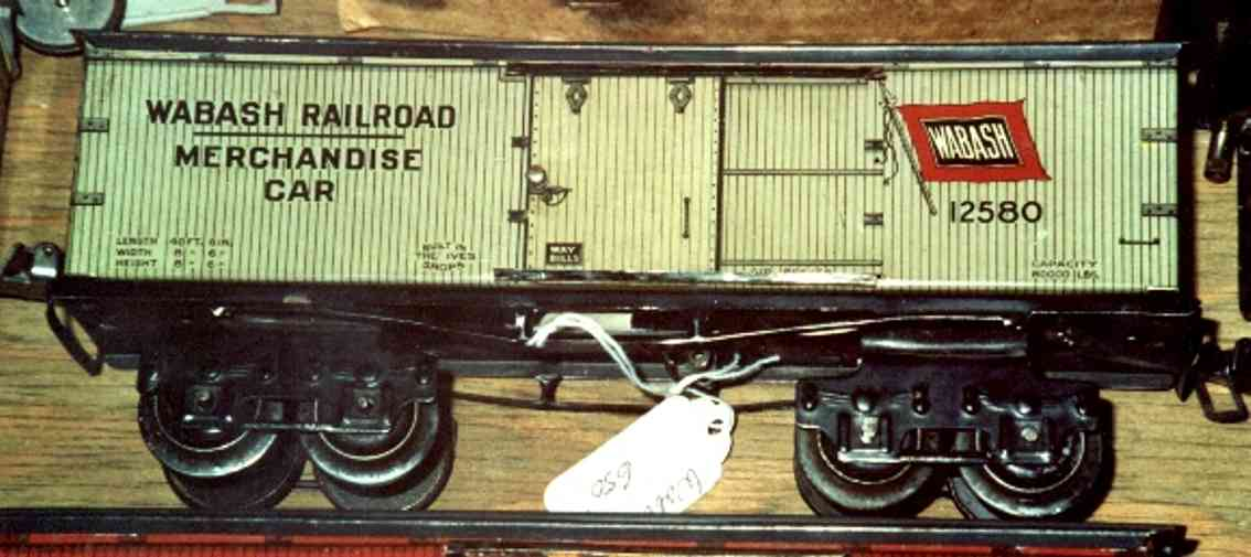 ives 125 (1914) spielzeug eisenbahn kühlwagen; 4-achsig; lithografiert,  unterschiedliche aufsch