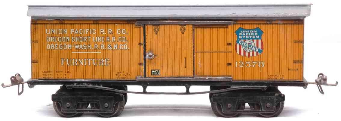 ives 125 (1925) spielzeug eisenbahn gedeckter güterwagen; 4-achsig; lithografiert,  unterschiedl