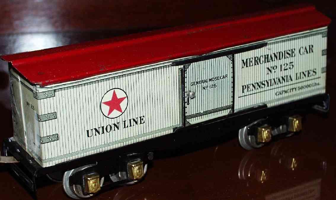 ives 125 1928 spielzeug eisenbahn gedeckter gueterwagen rotes dach spur 0
