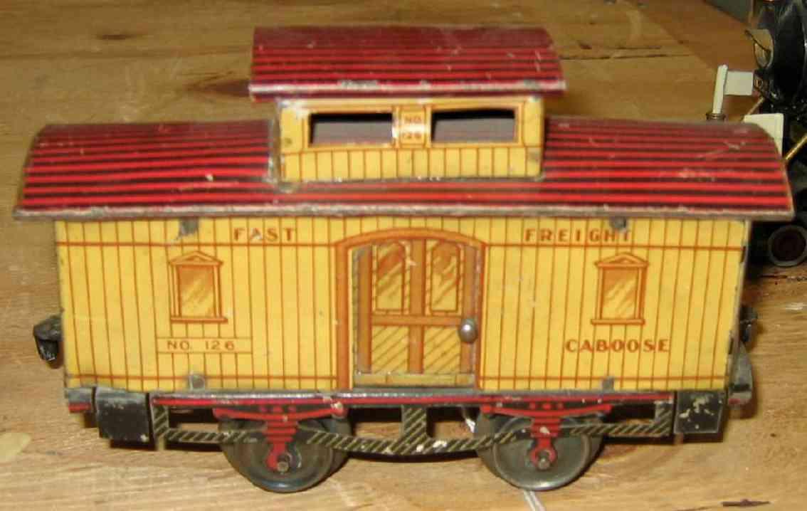 ives 126 1908 spielzeug eisenbahn gueterwagen caboose spur 0