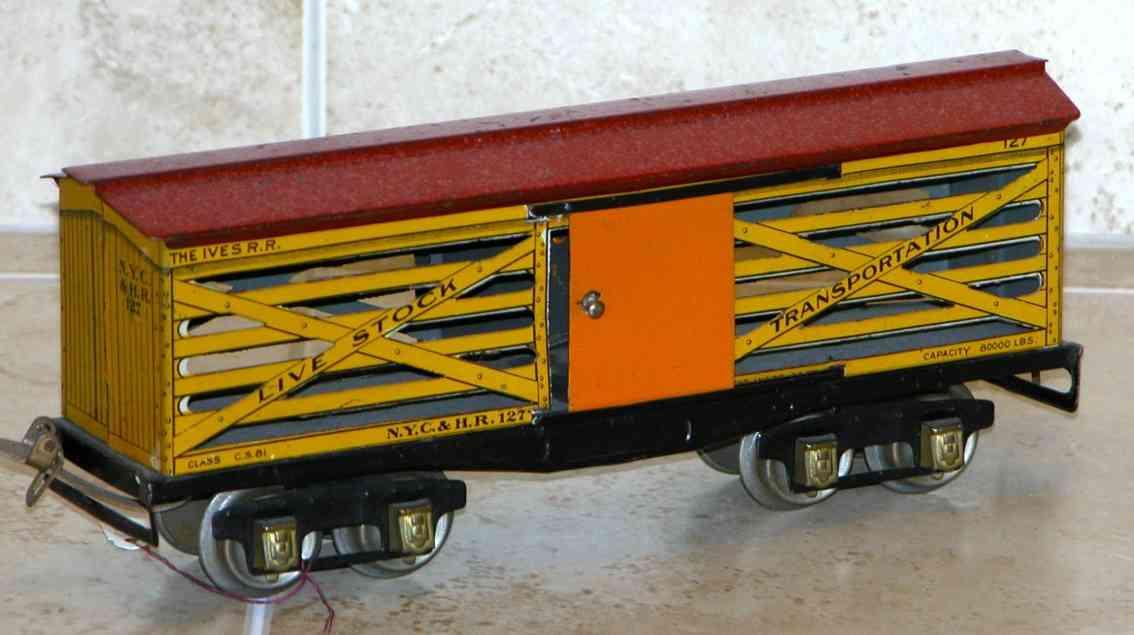 ives 127 spielzeug eisenbahn viehwagen in gelb und rot spur 0