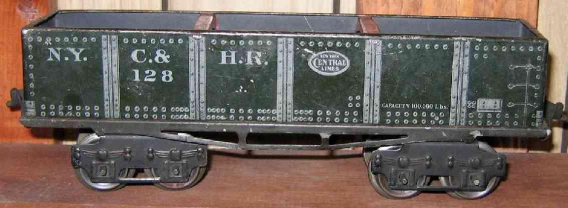 ives 128 1913 spielzeug eisenbahn kieswagen dunkelgruen spur 0