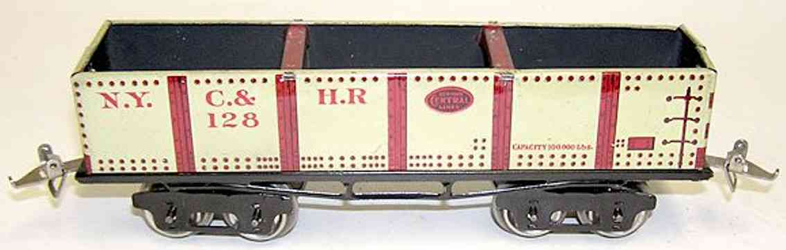 ives 128 1925 spielzeug eisenbahn kieswagen hellgrau spur 0
