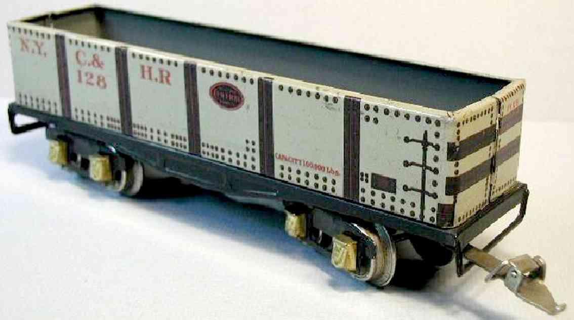 ives 128 1928 spielzeug eisenbahn gueterwagen kieswagen spur 0