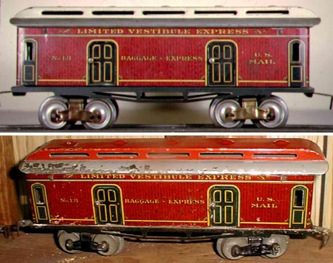 ives 131 spielzeug eisenbahn gepaeckwagen in rotem holzmuster spur 0