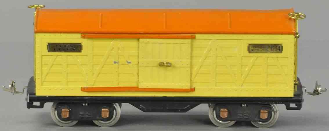 ives 1774 spielzeug eisenbahn gedekcter güterwagen #1744; 4-achsig; gehäuse in gelb mit or
