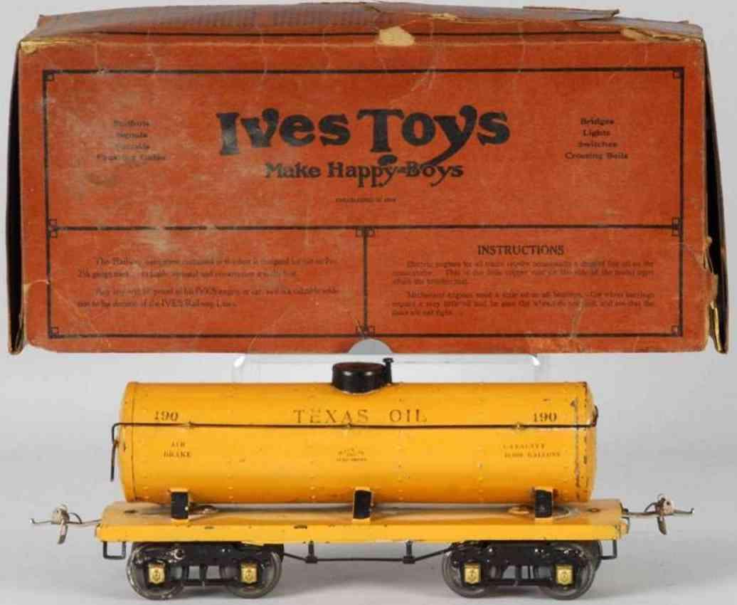 ives 190 1926 railway toy texas oil tank car yellow wide standard gauge