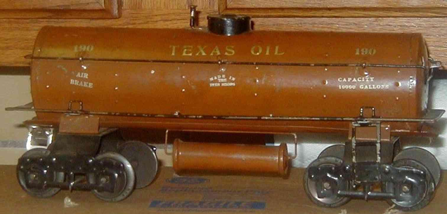 ives 190 1922 spielzeug eisenbahn texas oil oeltankwagen braun gold wide standard gauge