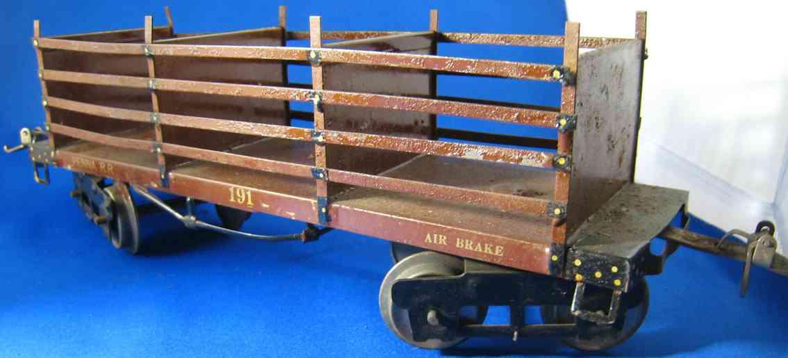 ives 191 (1923) spielzeug eisenbahn güterwagen mit offen latten in dunkelbraun mit goldfarbener