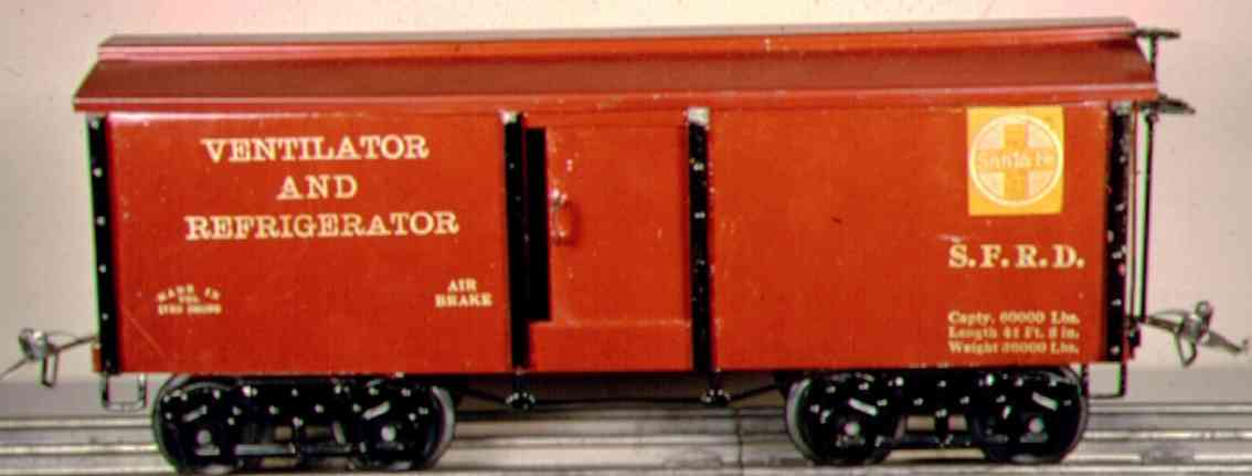 ives 192 1921 railway toy ventilator and refrigerator car red brown wide gauge