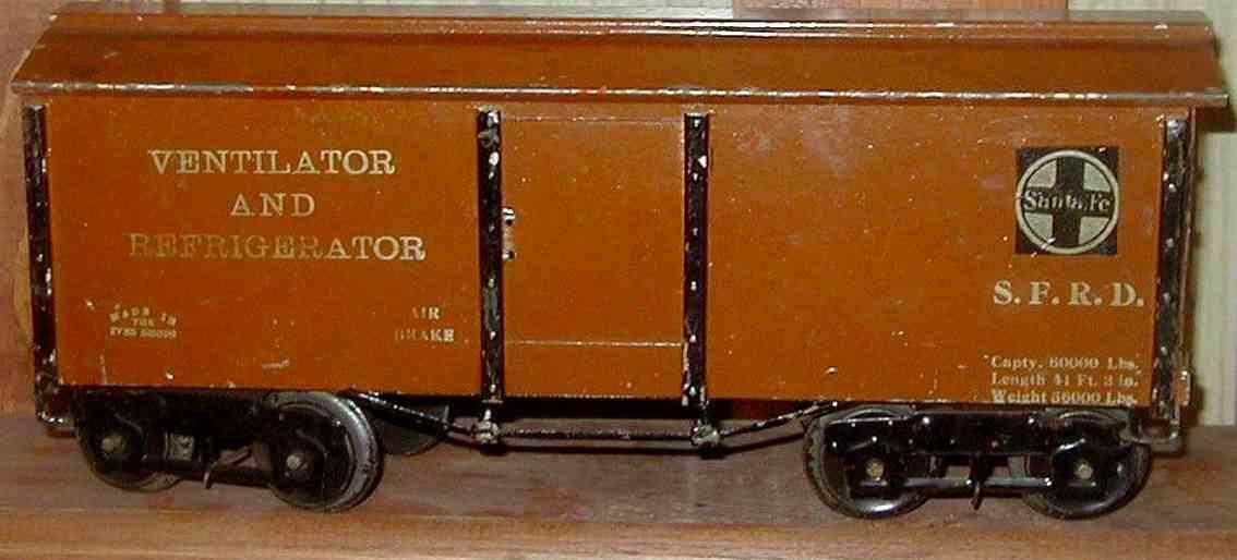 ives 192 1922 spielzeug eisenbahn kuehlwagen braun wide gauge