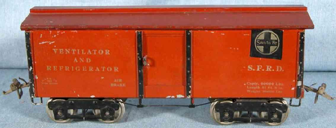 ives 192 1924 spielzeug eisenbahn kuehlwagen gelb orange wide standard gauge