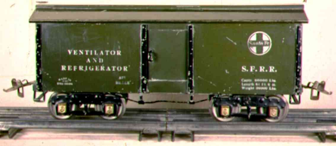 ives 192 1927 spielzeug eisenbahn kuehlwagen dunkelgruen wide standard gauge