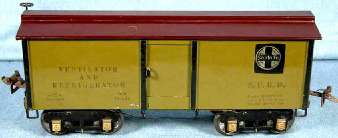 ives 192 1927 spielzeug eisenbahn kuehlwagen gruen wide standard gauge