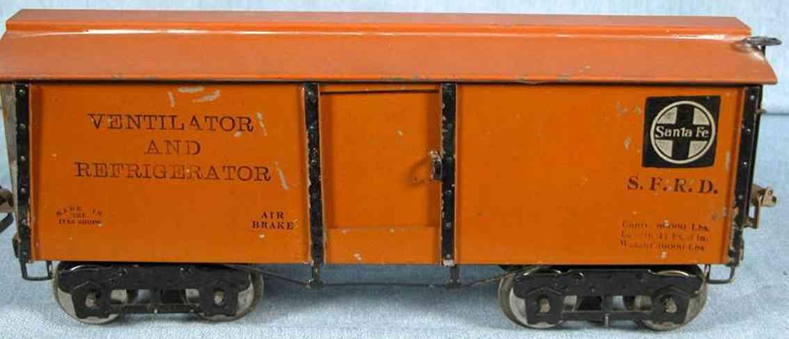 ives 192 1923 spielzeug eisenbahn kuehlwagen orange wide gauge