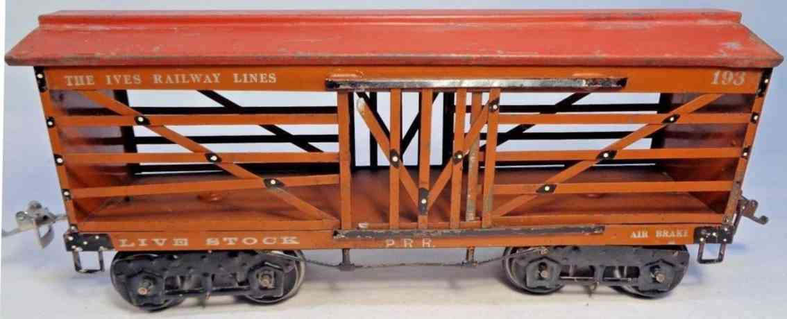 ives 193 1923 railway toy livestock car light brown maroon wide gauge