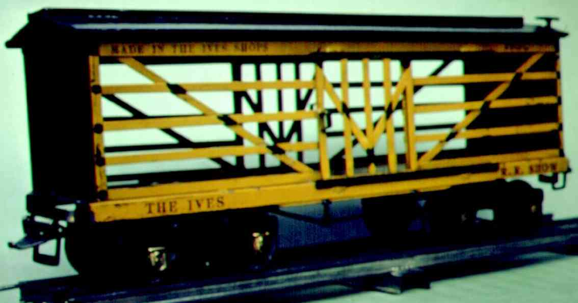 ives 193 1928 railway toy circus stock car yellow black wide gauge
