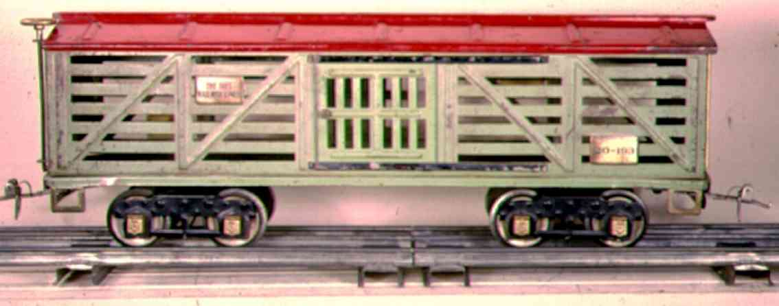 ives 193 1928 railway toy american flyer style livestock car green light green red wide gauge