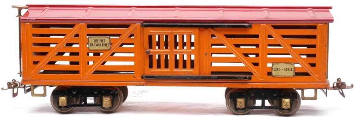ives 193 1928 railway toy american flyer style livestock car green orange red wide gauge