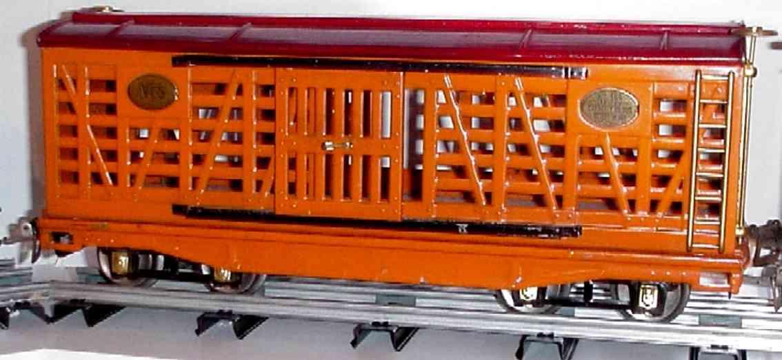 ives 193 1930 railway toy lionel style livestock car green orange red wide gauge