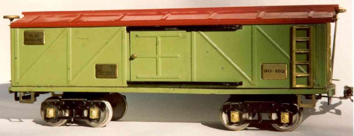 ives 20-192 spielzeug eisenbahn gedeckter gueterwagen gruen rot messing wide gauge