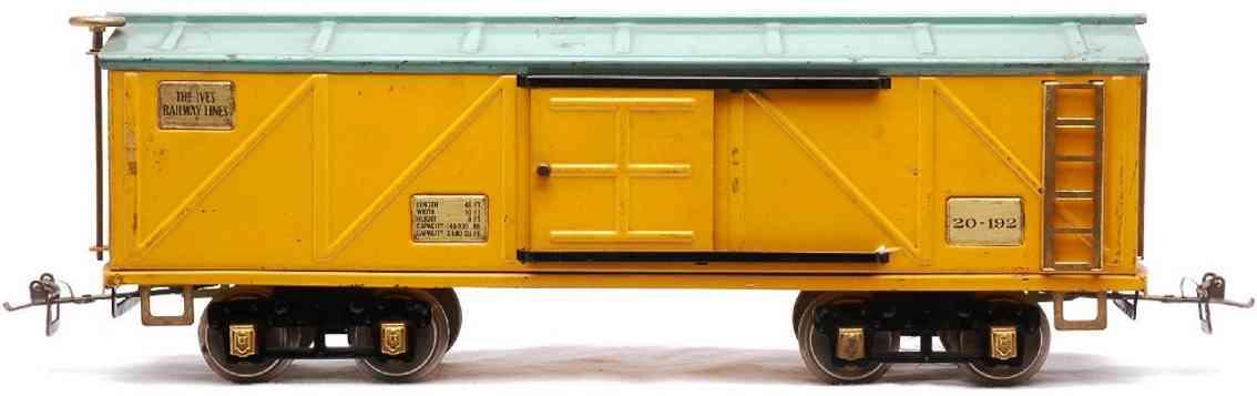 ives 20-192 spielzeug eisenbahn gedeckter gueterwagen gelb blau messing wide gauge