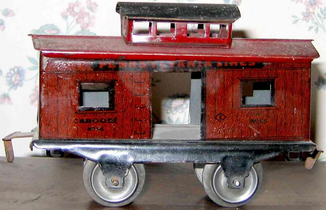 ives 56 (1925) railway toy caboose; 2-axis, lithographed in dark red almost maroon, let