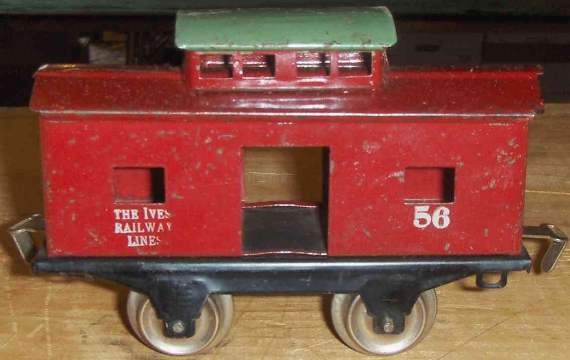 ives 56 (1929) railway toy caboose; 2-axis, lithographed in red, silver ruber stamping